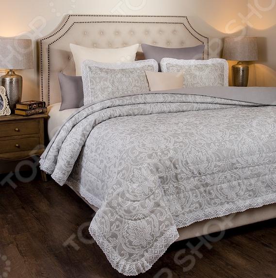 Комплект для спальни: покрывало и наволочки Santalino «Луара». Цвет: серый