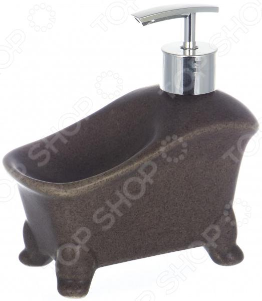 Диспенсер для жидкого мыла с губкой Elrington «Крошка. Графит» FJH-10771