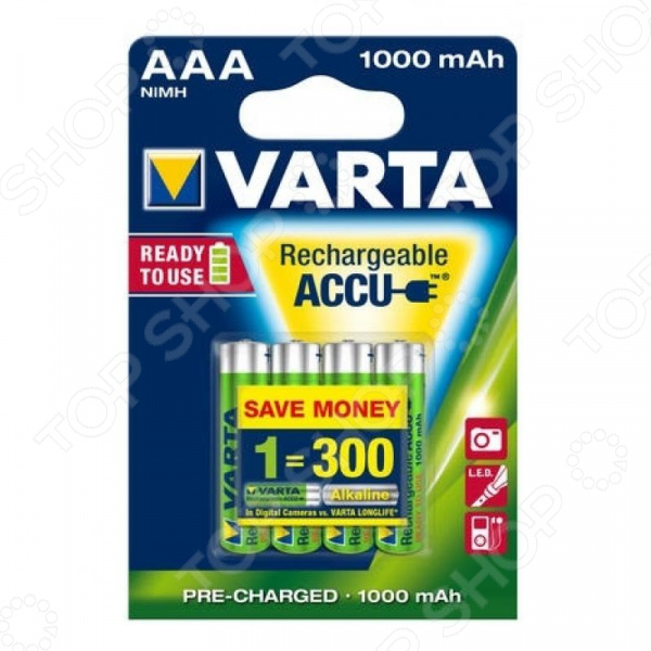 Фото - Батарея аккумуляторная VARTA AAA R2U 1000 мАч 4 шт. медаль обладателю самого заразительного смеха