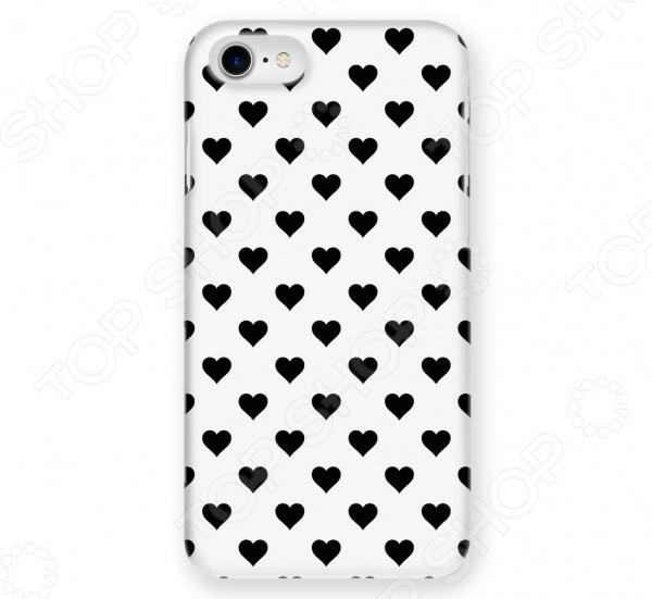 Чехол для iPhone 7 Mitya Veselkov «Черные сердечки на белом»
