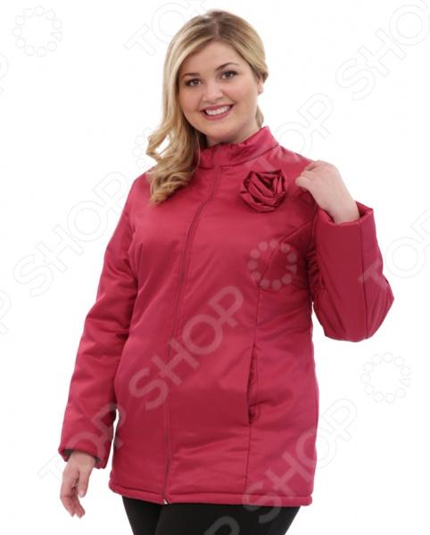 Куртка СВМ-ПРИНТ «Тонкий вкус с воротником». Цвет: брусничный свм принт марьяна цвет оливковый