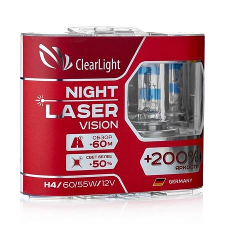 Комплект автоламп галогенных ClearLight Night Laser Vision H4