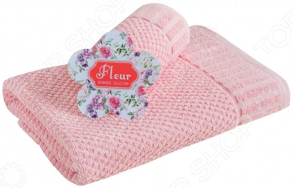 Полотенце махровое Василиса «Флер». Цвет: розовато-бежевый