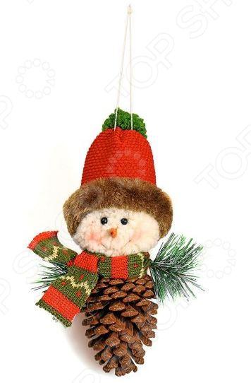 Подвес декоративный Новогодняя сказка «Снеговичок-шишка»