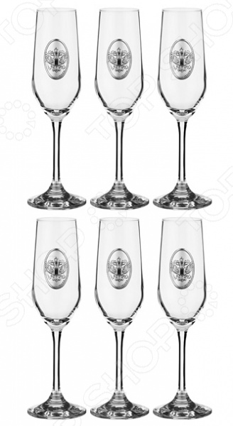 Набор бокалов для шампанского Acampora «Россия» 307-161 набор бокалов crystalex ангела оптика отводка зол 6шт 400мл бренди стекло