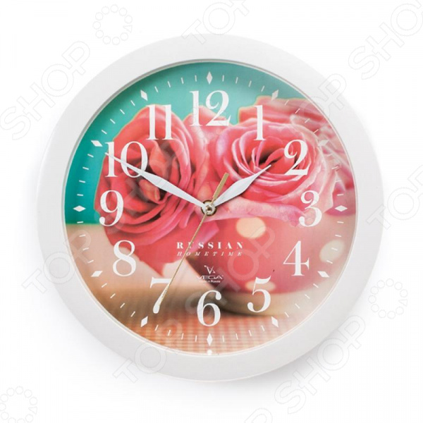 Часы настенные Вега П 1-7/7-252 «Розовые розы» часы настенные вега п 4 14 7 86 новогодние подарки