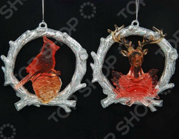 Новогоднее украшение Crystal Deco «Венок с животным». В ассортименте