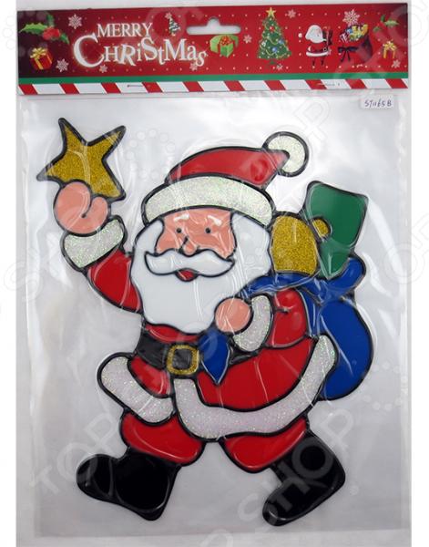 Новогодняя наклейка на стекло Crystal Deco «Санта с подарками» 1707857