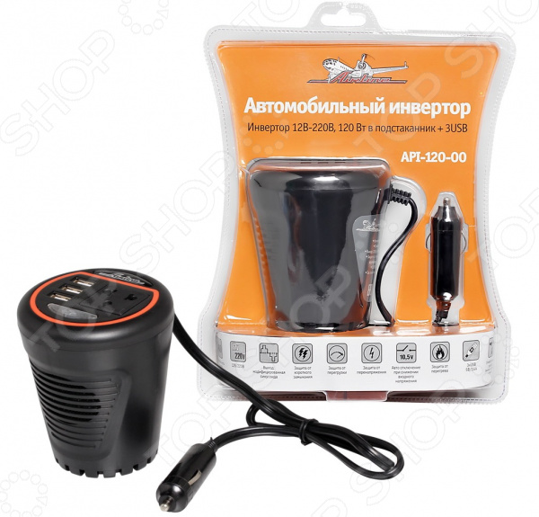 Инвертор автомобильный Airline API-120-00 инвертор автомобильный airline api 750 04