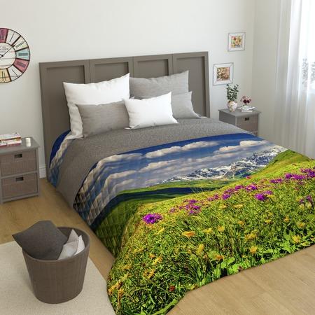 Купить Фотопокрывало стеганое Сирень «Альпы и цветы»