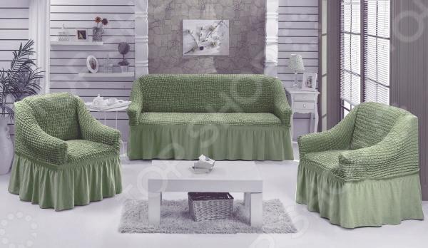 Натяжной чехол на трехместный диван и чехлы на два кресла Karbeltex 1731166