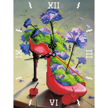 Купить Часы из алмазной мозаики Color Kit «Цветочная туфелька»