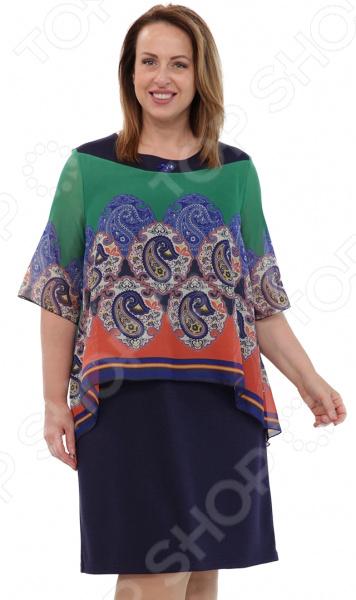 Платье СВМ-ПРИНТ «Морской прибой». Цвет: синий, зеленый