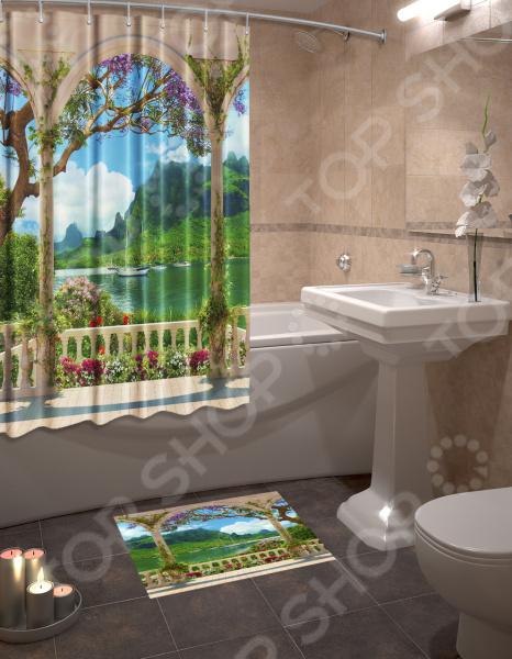 Набор для ванной комнаты: шторка и коврик ТамиТекс «Гавань»