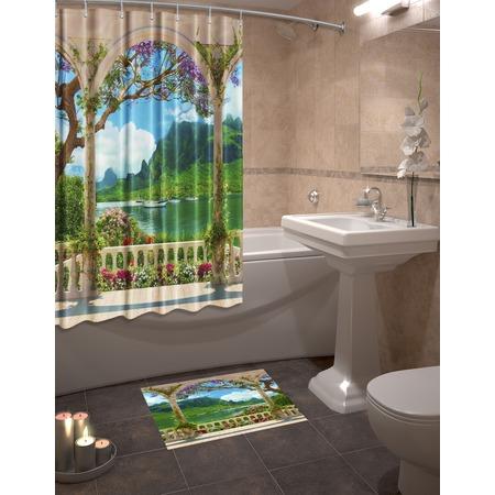 Купить Набор для ванной комнаты: шторка и коврик ТамиТекс «Гавань»