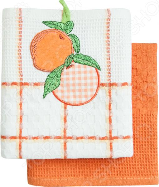 Комплект из 2-х кухонных полотенец BONITA «Апельсин» ткань для полотенец оптом в москве
