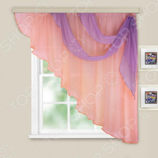 цена Комплект легких штор правосторонний WITERRA «Азалия». Цвет: бледно-розовый