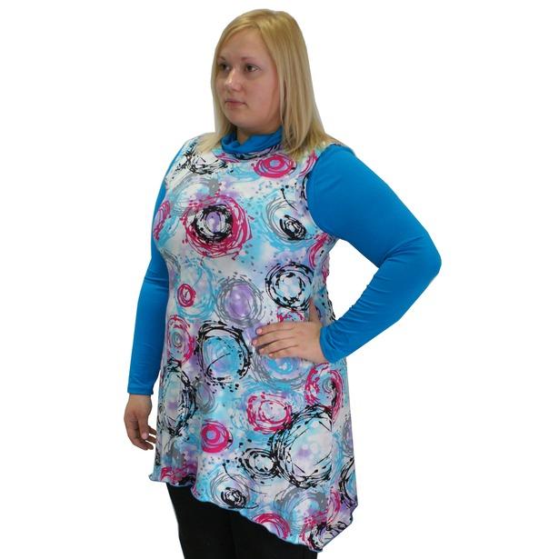 фото Туника с блузой Матекс Облака. Цвет: голубой. Размер одежды: 44