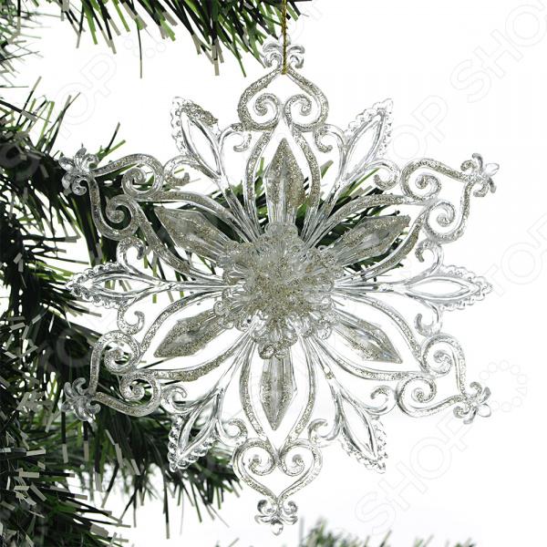 Новогоднее украшение Crystal Deco «Снежинка с глиттером». В ассортименте