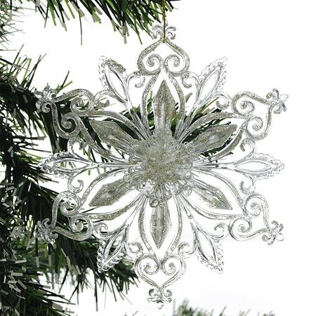 Купить Новогоднее украшение Crystal Deco «Снежинка с глиттером»