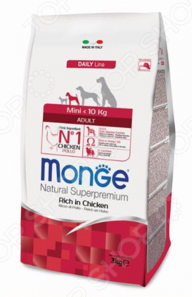 Корм сухой для собак мелких пород Monge Natural Superpremium Mini Adult Rich in Chicken