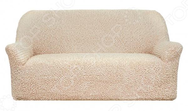 Натяжной чехол на трехместный диван Еврочехол «Микрофибра. Ваниль»