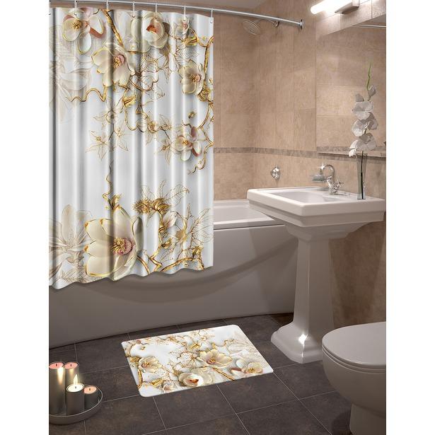 фото Набор для ванной комнаты: шторка и коврик ТамиТекс «Фарфоровый сервиз»