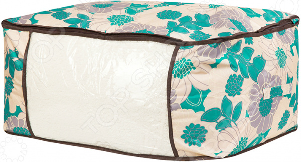 Кофр для хранения одеял и пледов EL Casa «Цветочное поле бирюза» кофры el casa набор 2 кофров цветочное поле бирюза