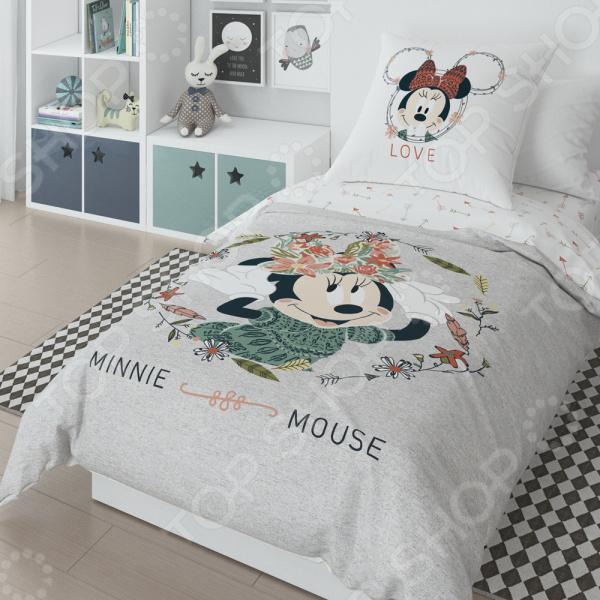 Детский комплект постельного белья Minnie Mickey Gray постельные принадлежности minnie комплект постельного белья minnie mickey gray полутороспальный наволочка 50х70 см