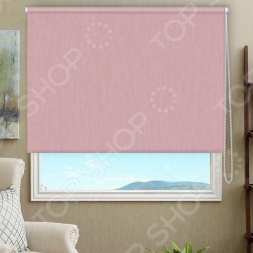 Рулонная штора блэкаут Эскар тканевая. Цвет: розовый кварц