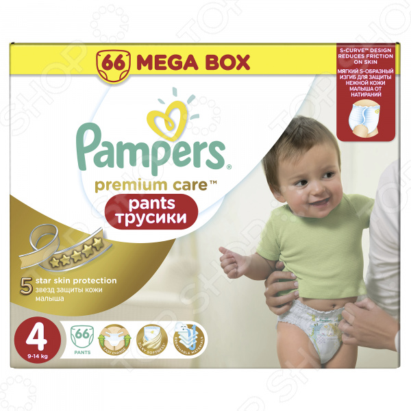 �������-���������� Pampers Premium Care Pants 9-14 ��, ������ 4, 66 ��.