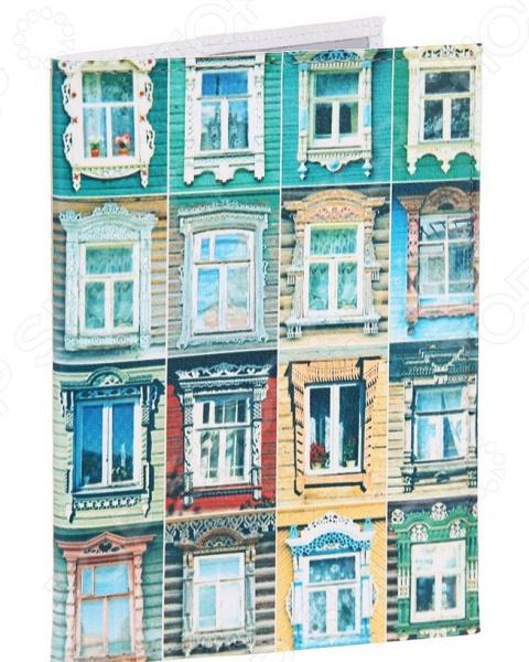 Обложка для автодокументов кожаная Mitya Veselkov «Большие окна»
