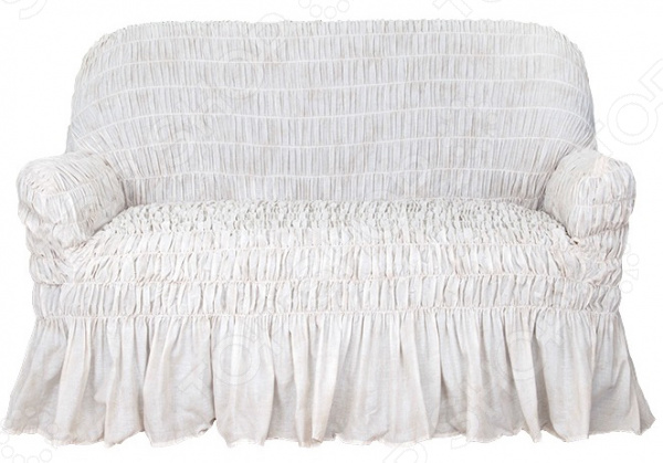 Натяжной чехол на двухместный диван Еврочехол «Фантазия. Белый мрамор»