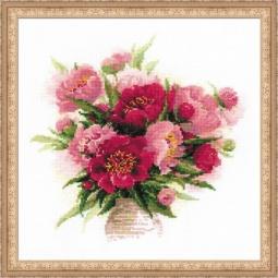 Набор для вышивания крестиком Сотвори Сама «Пионы в вазе»