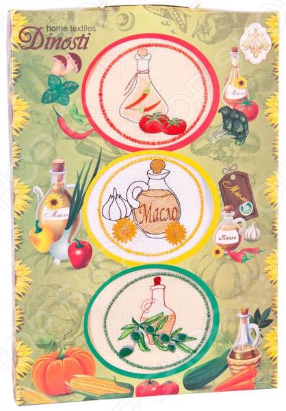 Комплект из 3-х кухонных полотенец Dinosti «Масло» комплект из 3 х кухонных полотенец dinosti розовые хрюшки