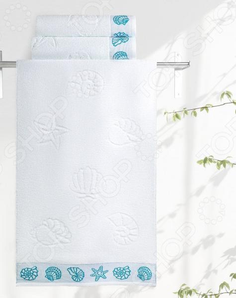 Полотенце махровое Aquarelle «Ракушки». Цвет: белый полотенца банные авангард полотенце махровое пестротканое жаккардовое ракушки