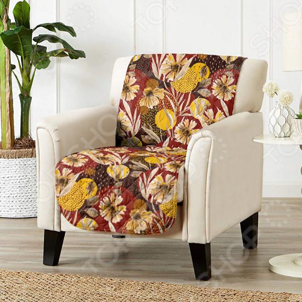 Универсальная накидка «Уютный дом» на кресло. Цвет: бордовый