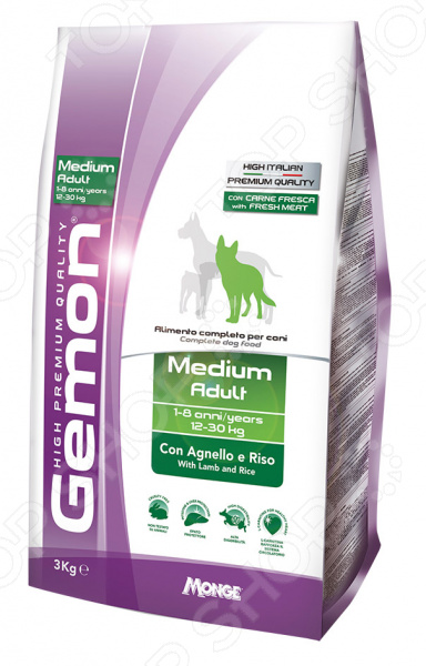 Корм сухой для собак средних пород Gemon Medium Adult With Lamb and Rice