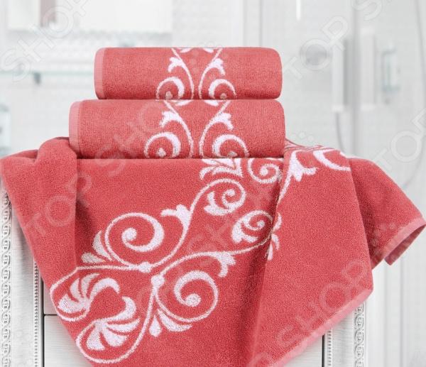 Полотенце махровое Aquarelle «Шарлиз». Цвет: белый, коралловый полотенце махр aquarelle шарлиз 70х140см синее