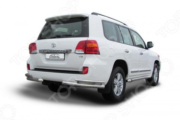 цена на Защита заднего бампера «уголки» Arbori двойная для Toyota Land Cruiser 200, 2012-2013