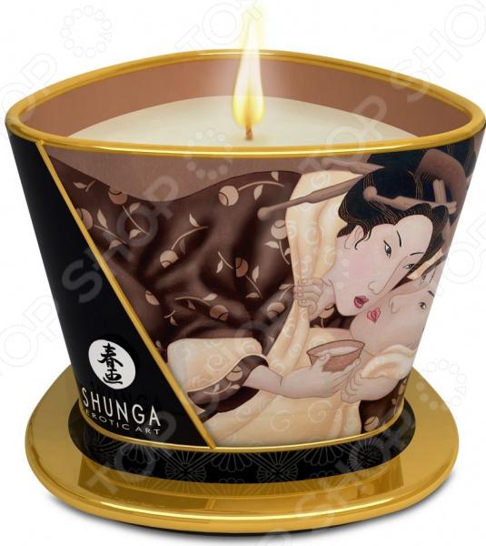 Аромамасло-свеча массажное Shunga «Пьянящий шоколад» topco sex please do me pussy stroker телесный мастурбатор в форме вагины
