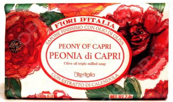Мыло Iteritalia с оливковым маслом «Пионы Капри»  iteritalia натуральное косметическое марсельское мыло с органическим оливковым маслом 125 г