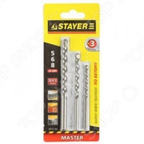 Набор сверл по бетону и камню Stayer Master 29111-H3 набор сверл по бетону с дюбелями stayer master 29111 h21 08