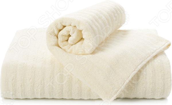 Полотенце махровое Aquarelle «Волна». Цвет: ванильный полотенце махр aquarelle исландия 40х70см ваниль