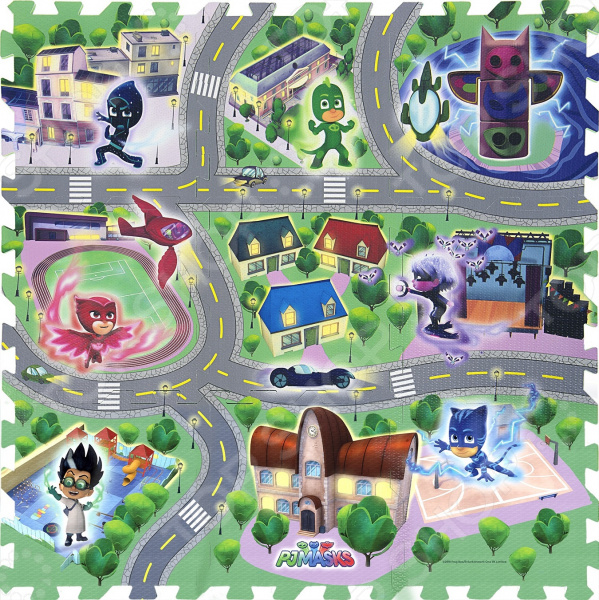 Коврик-пазл развивающий PJ Masks «Город Героев» игровые коврики viking toys сумка коврик город с 2 машинками 90х70 см