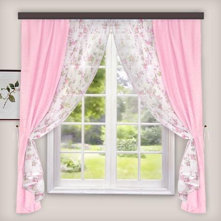 Купить Комплект: тюль и шторы WITERRA «Хлоя». Цвет: белый, розовый. В ассортименте
