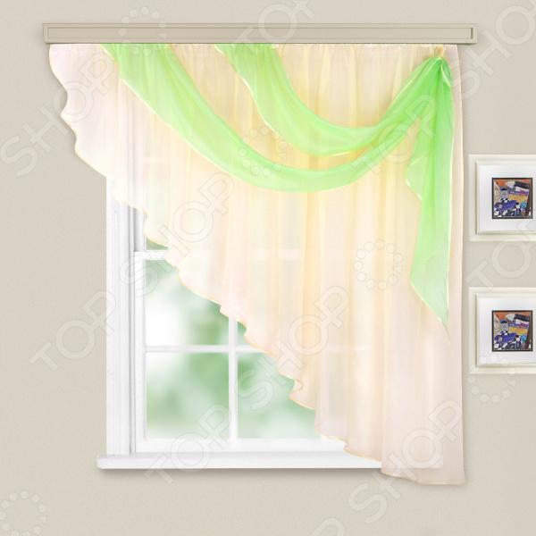 Комплект легких штор правосторонний WITERRA «Азалия». Цвет: шампань