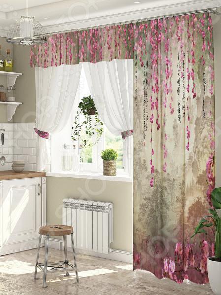 фото Комплект штор для окна с балконом ТамиТекс «Притча», Шторы для окна с балконом