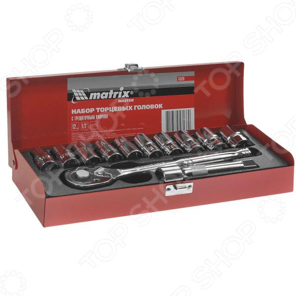 Набор торцевых головок с трещоточным ключом MATRIX MASTER набор торцевых головок stels 14126