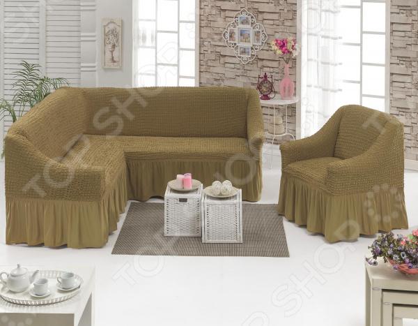 Натяжной чехол на угловой диван и чехол на кресло Karbeltex